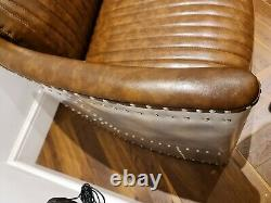 Aviator Pilot 2 Seater Sofa Vintage Tan Distressed Leather