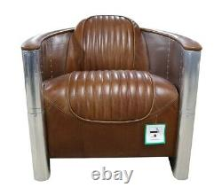 Aviator Pilot Chair Vintage Distressed Tan Real Leather