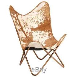 BKF Sling Butterfly Chair Vintage Retro Armchair Cow Tan Leather Accent Seater