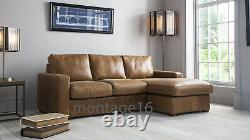 Balmoral Vintage Brown Tan Leather Corner Sofa Chaise LHF RHF Colours