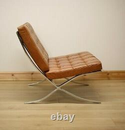 Barcelona Style Tan Leather Chair Inspired by Mies Van Der Rohe