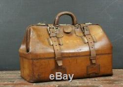 Beautiful Mens Vintage Tan Leather Belted Gladstone Bag Travel Bag Leather Lined