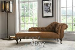 Bespoke Broadway Button Back Vintage Tan Leather Chaise Longue / Harris Tweed