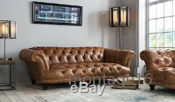 Bespoke Judge Oskar Button Back Seat Vintage Tan Leather Sofa Chesterfield