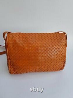 Bottega Veneta Vintage Intrecciato Nappa Orange Tan Woven Leather Shoulder Bag /