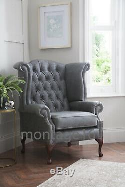 Brompton Vintage Button Seat Whiskey Leather Wing Chair Armchair High Back Tan