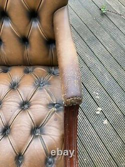 Brown Tan Leather Chesterfield Style Desk Chair Swivel Worn Vintage