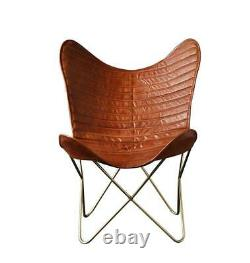 Butterfly Chair Retro Vintage Industrial Leather Tan Ribbed Seat Black Base