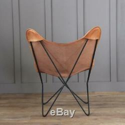 Butterfly Chair Retro Vintage Industrial Leather Tan Seat Black Base
