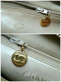 CHANEL CC Chain Tan Caviar Leather Shopper Tote Shoulder Hand Bag $4500 Auth