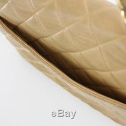 CHANEL Vintage Tan Lambskin Leather Gold Chain Medium Quilted Shoulder Bag