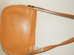 COACH Prairie Bag 9954 Tan Crossbody All Leather Vintage Flap Over Turn Lock Bag