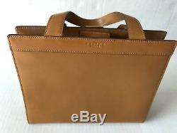 Celine Calf Leather Tan Box Handbag Bag Purse Original Logo Vintage 1980's