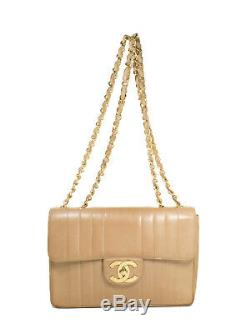 Chanel Vintage Jumbo in Distressed Camel / Light Tan Vertical Quilted Leather