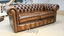 Chesterfield 185cm Tufted Buttoned 2 Seater Sofa Real Vintage Tan Leather