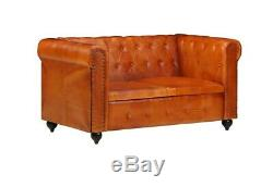 Chesterfield 2 Seater Sofa Vintage Tan Leather Sette Small Office Luxury Couch