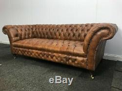 Chesterfield 3 Seater Castleford Sofa In Vintage Tan Genuine Leather(Brand New)
