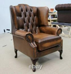 Chesterfield Bloomsbury Queen Anne High Back Wing Chair Vintage Tan Leather
