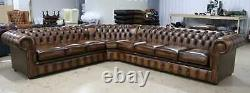 Chesterfield Buttoned Corner Group Tufted 8 Seater Sofa Vintage Tan Leather