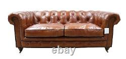 Chesterfield Halo Luxury Vintage Distressed Real Leather 3 + 2 Seater Sofa Tan