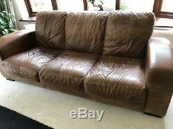 Chesterfield Leather vintage & distresse 3 Seater Sofa tan brown