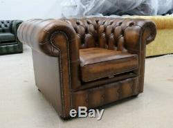 Chesterfield Low Back Tufted Buttoned 1 Seater Club Chair Vintage Tan
