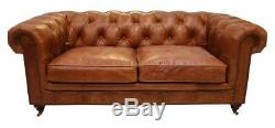 Chesterfield Luxury Vintage Distressed Real Leather 2 Seater Sofa Tan Brown