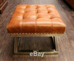 Chesterfield Modern Buttoned Criss Cross Steel Footstool Vintage Tan Leather