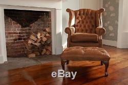 Chesterfield Queen Anne High Back Wing Chair & Footstool in Vintage Tan Leather
