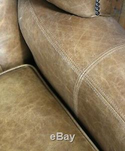 Chesterfield Queen Anne High Back Wing Chair in Vintage Tan Leather