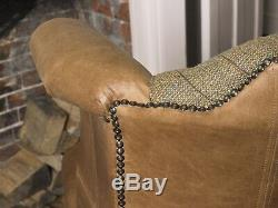 Chesterfield Queen Anne Wing Back Chair in Harris Tweed & Vintage Tan Leather
