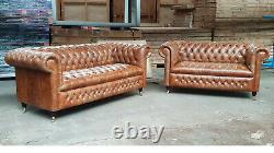 Chesterfield Sofa Pair in Vintage Tan (Was £5195) BRAND NEW Cancelled Order
