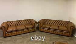 Chesterfield Vintage 3 Seaters A Matching Pair In In Antique Saddle Tan