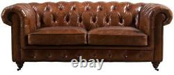 Chesterfield Vintage Distressed Tan Leather Handmade Sofa 3 Seater Settee