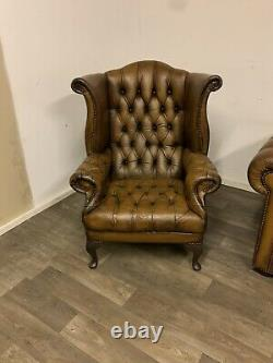 Chesterfield Vintage fully Buttoned Suite In Gorgeous Antique Whisky Tan