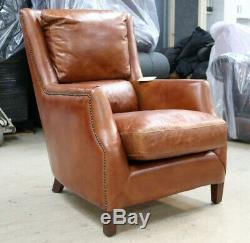 Crofter Chesterfield High Back Vintage Distressed Tan Brown Leather Armchair