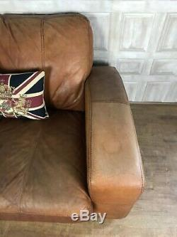 DFS Caesar Leather Corner Sofa 3 Seater Tan Brown L Left Chaise £90 DELIVERY