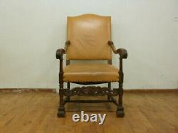 DK045 Danish Carved Oak & Tan Leather High-Backed Lounge Chair Vintage Retro