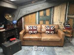 Danish Style 2/3 Seater Sofa Tan John Lewis leather vintage distress