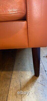 Danish mid century Leather armchair Vintage, tan/orange