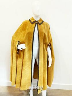 Designer Pierre Cardin VTG Amazing Tan Suede Leather Women's Cape Coat