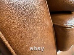 Dfs Zinc Tan Leather Vintage Retro Cuddler Sofa Armchair. Very Comfy