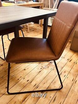 Dining Chairs Cognac Tan Brown Leather