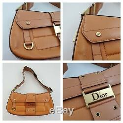 Dior Street Chic Shoulder Bag Leather Columbus Gold Buckle Vintage Tan Logo