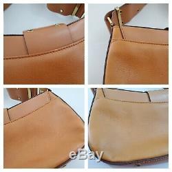 Dior Street Chic Shoulder Bag Leather Columbus Gold Buckle Vintage Tan Logo