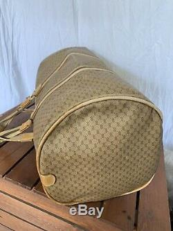 Distressed Large GUCCI Vintage Authentic Tan Canvas and Leather Trim Round Bag