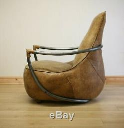 Distressed Tan Leather Armchair / Chair