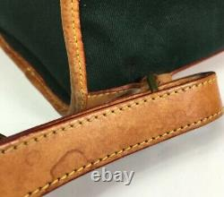 Dooney & Bourke Vintage Green Fabric Tan Leather Trim Backpack-Made In USA