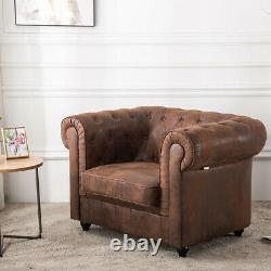 Drop Arm Chesterfield Vintage Tan Leather Corner Sofa Button Tub Chair Armchair