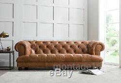 Drummond Button Back Seat Chesterfield Vintage Tan Leather Sofa